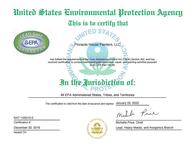 Lead Safe Certificate Pennsylvania Philadelphia Paint Contractor