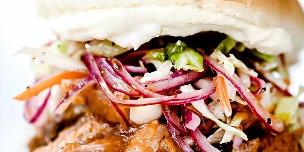 sweet and spicy pulled pork sandwiches with summer slaw and Cowgirl beans