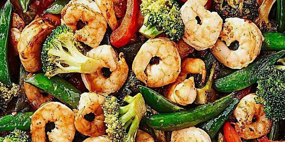 shrimp and vegetable stir-fry with lemon basil orzo, and harvest salad