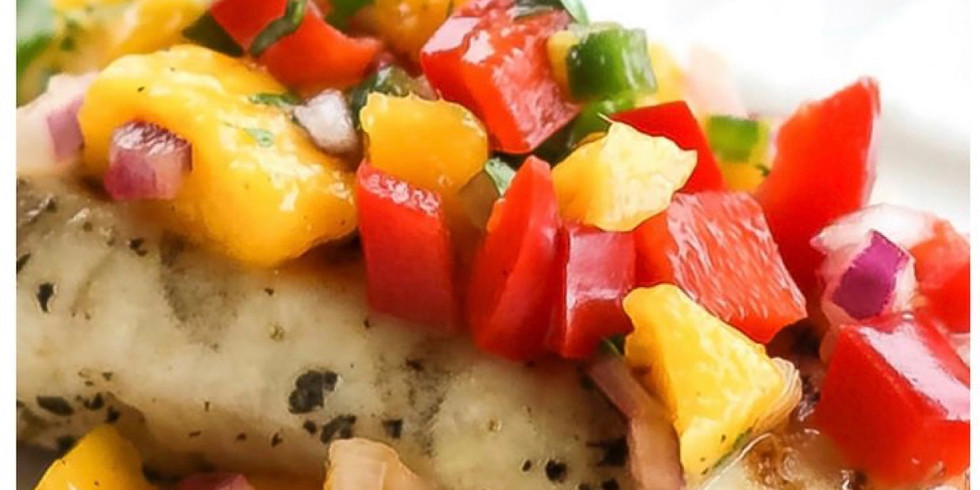 tilapia with mango salsa, cilantro Rice and harvest salad