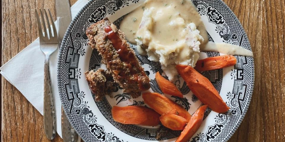 Home-Style Meat Loaf, Mashed Red Potatoes & Gravy, Sautéed Spring Veggies