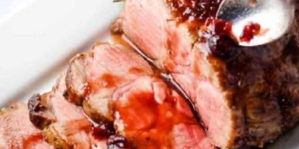 Smoked Pork Loin with Rum Cranberry Glaze, Harvest Mashed Potatoes, Chef Melissa's Market Salad, Maple Glazed Carrots, r