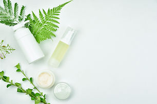 Cosmetic bottle containers with green he