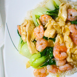 Shrimp & Chicken with Baby Bak Choi on R