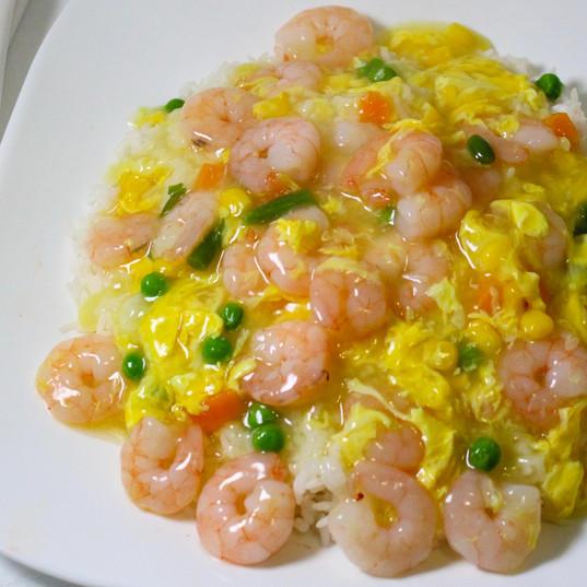 Shrimp & Egg Drop Sauce on Top