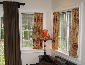 SHIRRED DRAPES WITH RUFFLE AT TOP