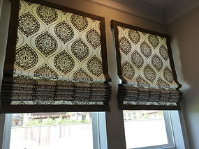 FLAT ROMAN SHADES WITH BANDING ON FOUR EDGES