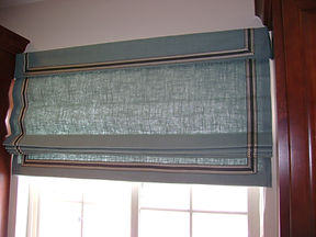 FLAT ROMAN SHADE WITH VALANCE AN BANDING