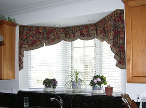 ARCHED VALANCE (SHOWN WITH SIDE JABOTS, BANDING & PIPING)