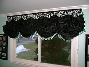 GATHEREDBALLOON SHADE WITH SCALLOP VALANCE AND TRIMS