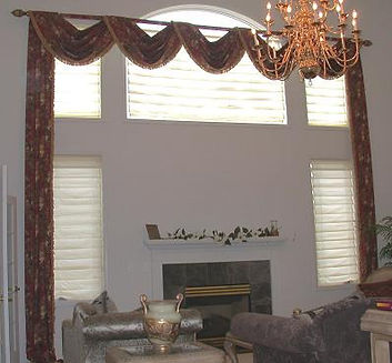 OVERSIZED SWAGS FOR TWO-STORY WINDOWS (SHOWN WITH LARGE TRIM)