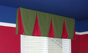 TUXEDO VALANCE (SHOWN WITH OPTIONAL CONTRASTING INSIDE PLEATS, BUTTONS & PIPING)