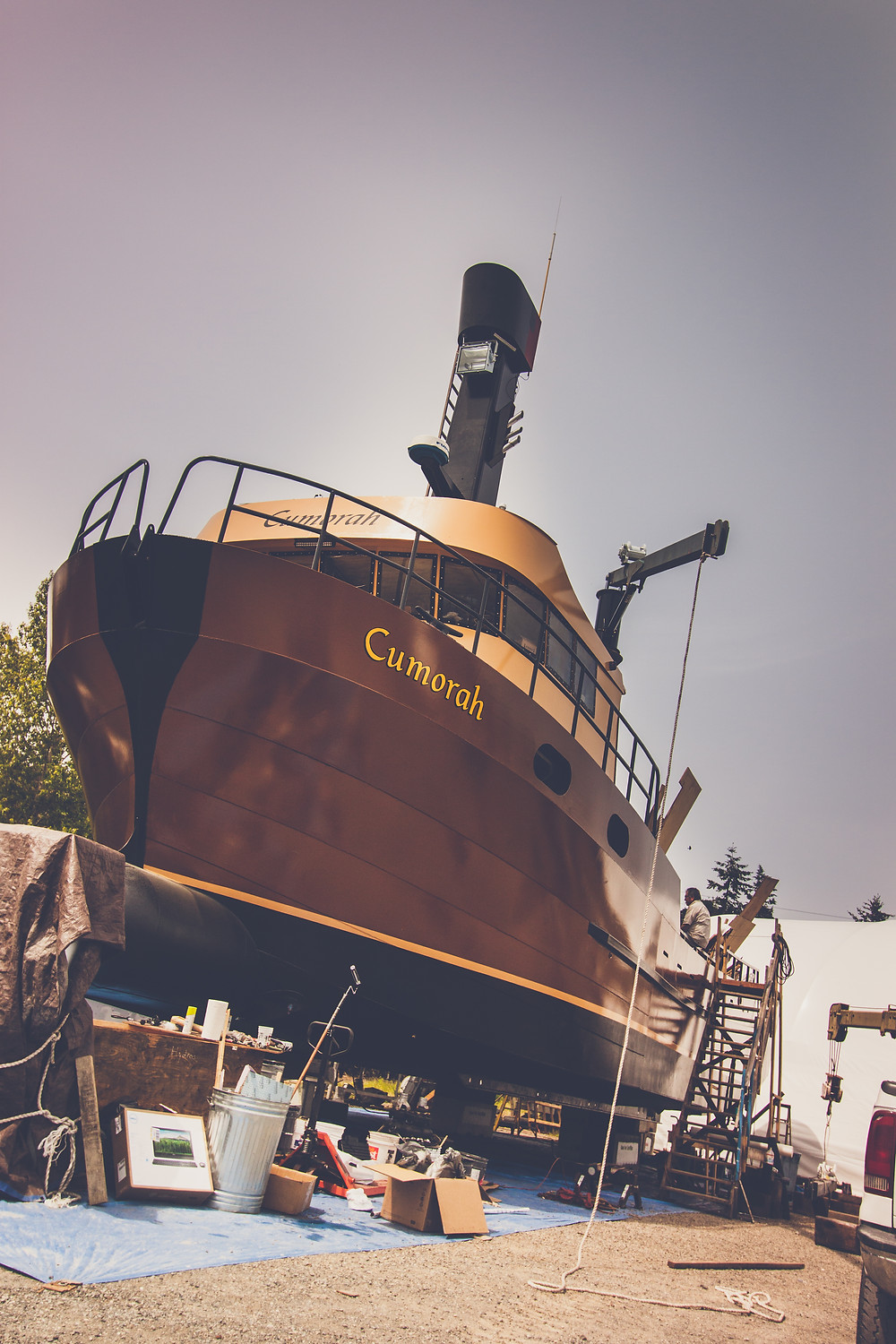 Cumorah, fishing boat under construction at Port Townsend Boat Haven