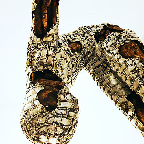 Drift wood and silver diving sculpture