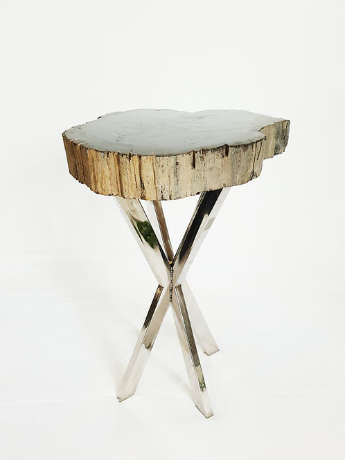 Petrified wood side table solid black