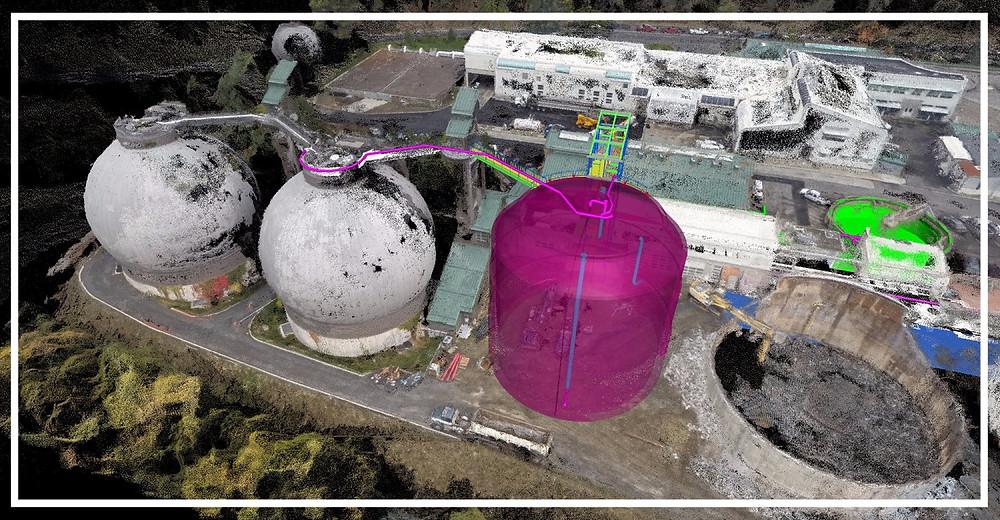 UAV, Scanning, BIM, Asbuit and survey combined to make this image in Navisworks