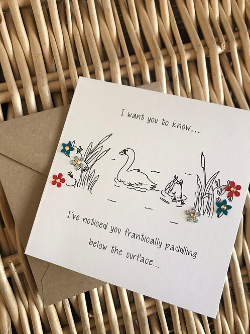 Paddling Swan Card