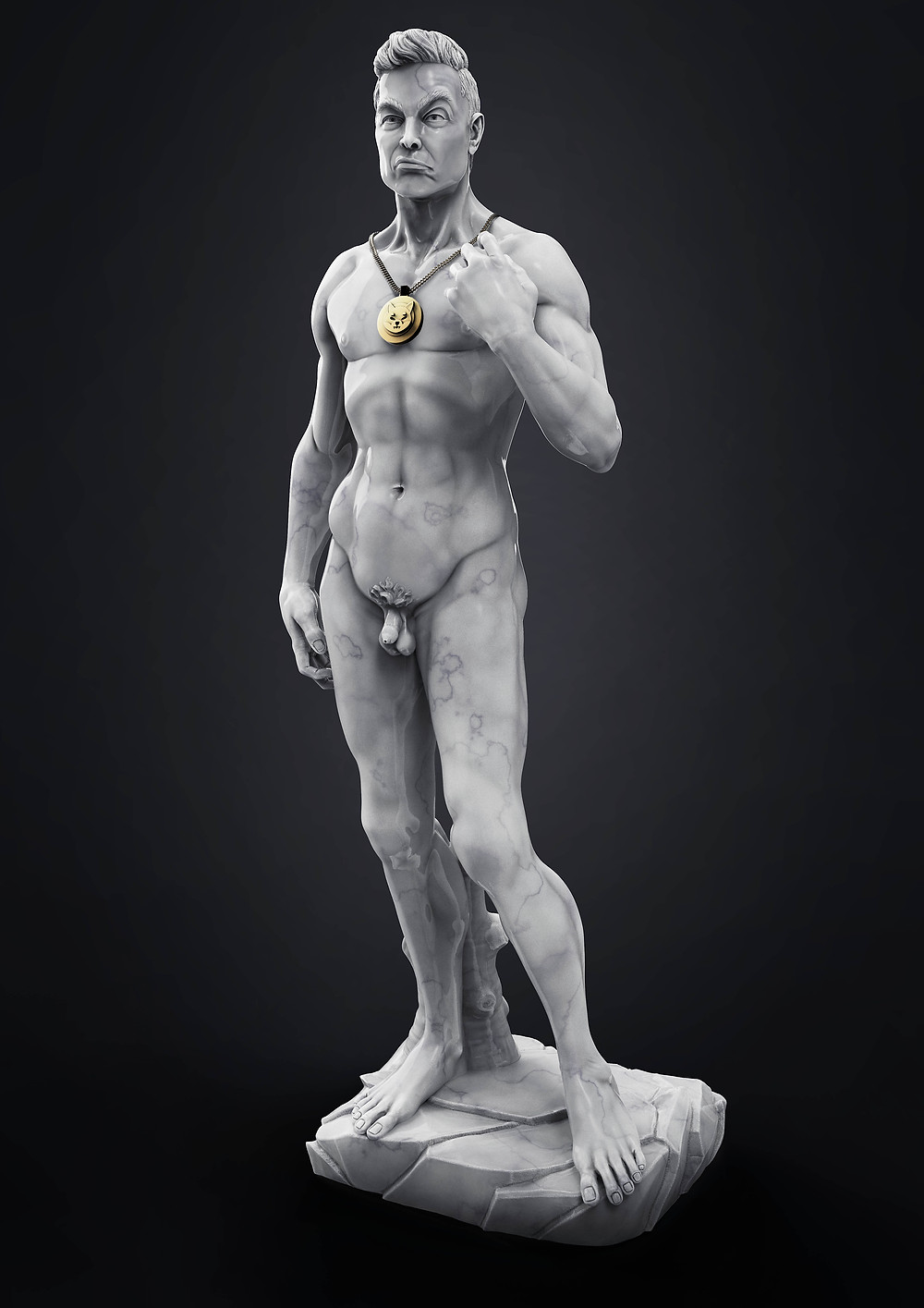 David by Michelangelo with Elon Musks head smoking a joint wearing a shiba Token Necklace