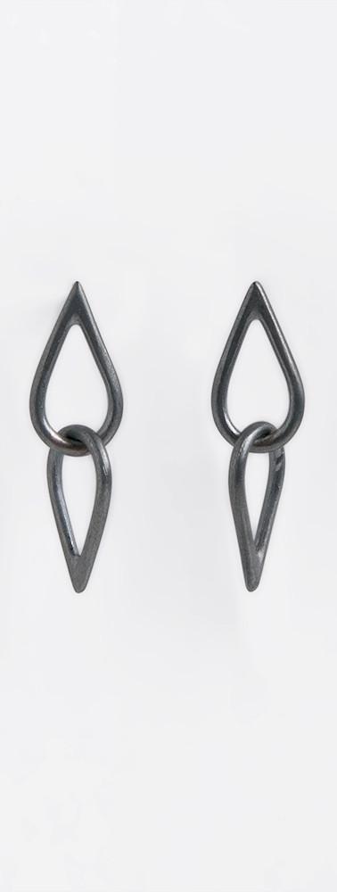 audrey2 teardrop oxidized silver dangle