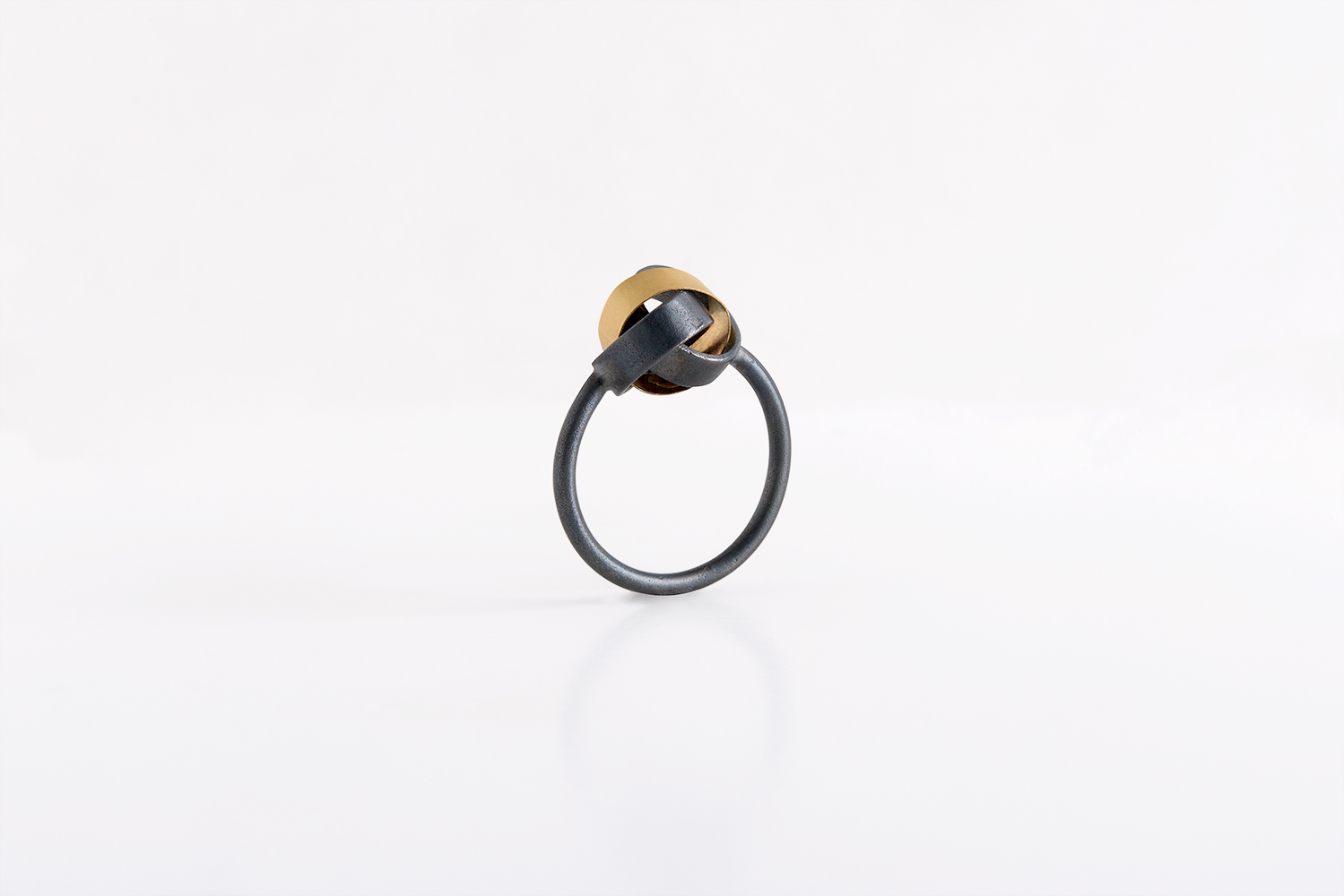 3 Loop Ring, Oxidized Silver & 18 ka