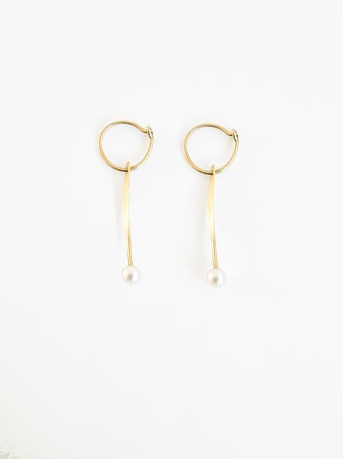 Hoop and Pearls: Gold Earrings