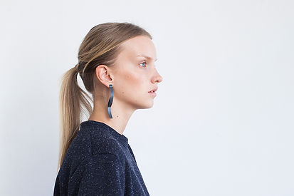 Black silver dramatic earrings
