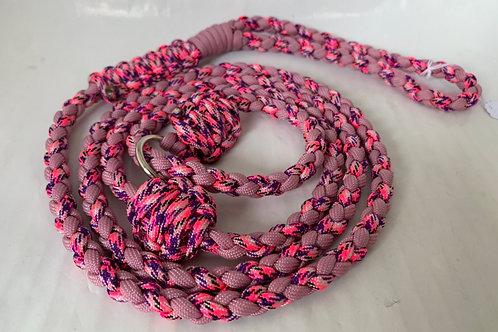 Laisse lasso pour retriever rose et violette