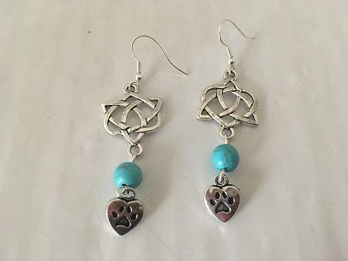 Boucles d'oreilles argenté et turquoise