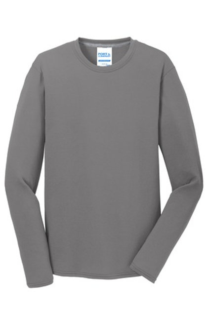 Left Front Chest Imprint Adult Long Sleeve Performance Blend Tee - Gray