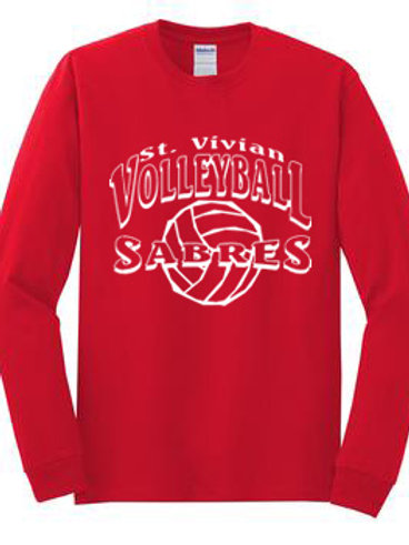 Volleyball Long Sleeve Red T-Shirt