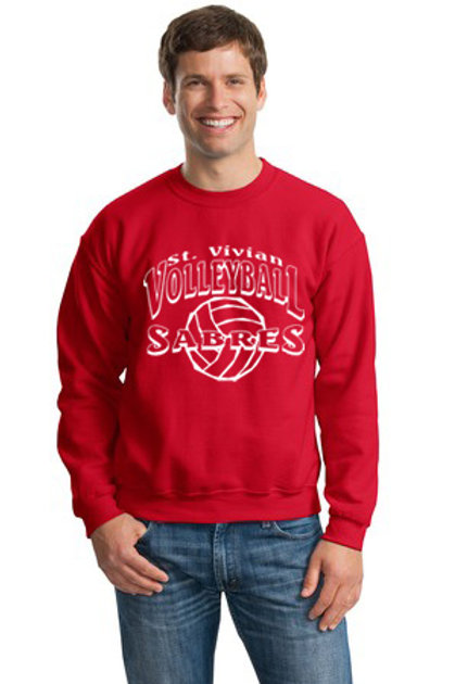 Volleyball Red Crew Sweatshirt