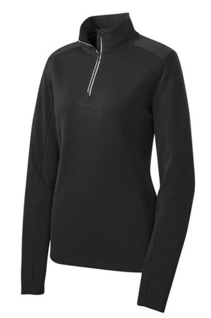 Ladies Sport-Wick Textured 1/4-Zip Pullover - Black