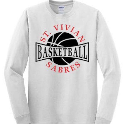 Basketball Sport White Long Sleeve T-Shirt