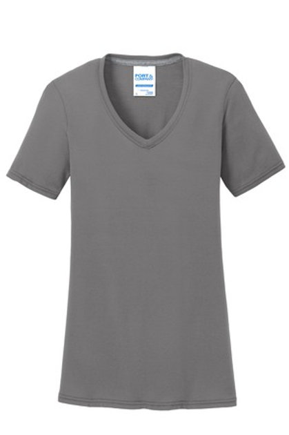 Left Front Chest Imprint Ladies Performance Blend V-Neck Tee - Gray