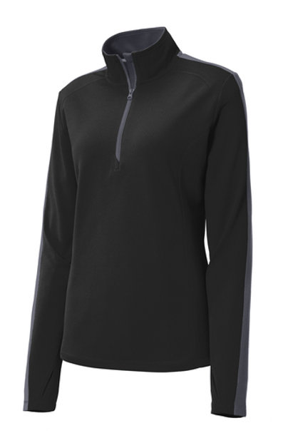 College Hill Ladies Sport-Tek Sport-Wick Textured Colorblock 1/4-Zip Pullover