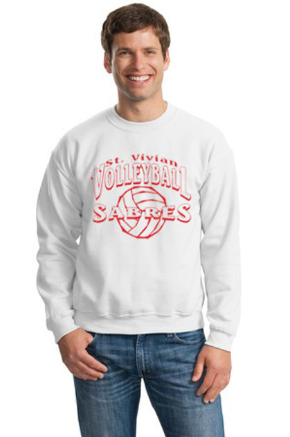 Volleyball White Crew Sweatshirt