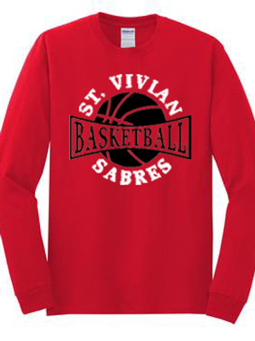 Basketball Red Long Sleeve T-Shirt