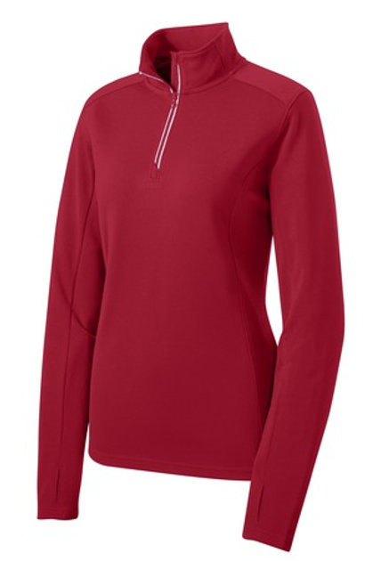 Ladies Sport-Wick Textured 1/4-Zip Pullover - Red