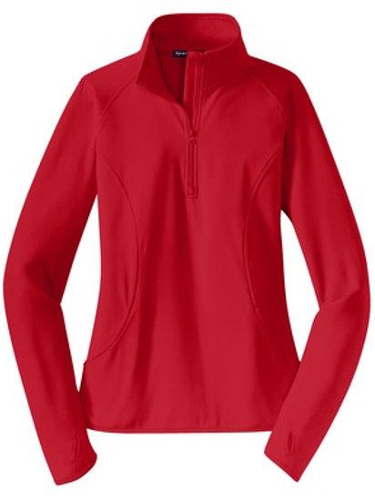 Ladies Sport-Wick Stretch 1/2-Zip Pullover - Red