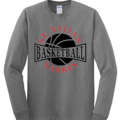 Basketball Gray Long Sleeve T-Shirt