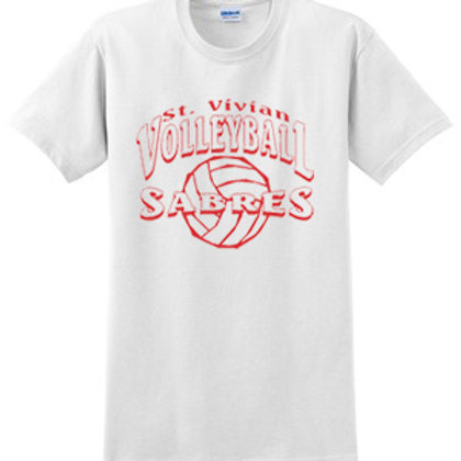 Volleyball White Short Sleeve T-Shirt