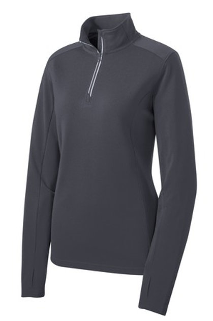 Ladies Sport-Wick Textured 1/4-Zip Pullover - Gray