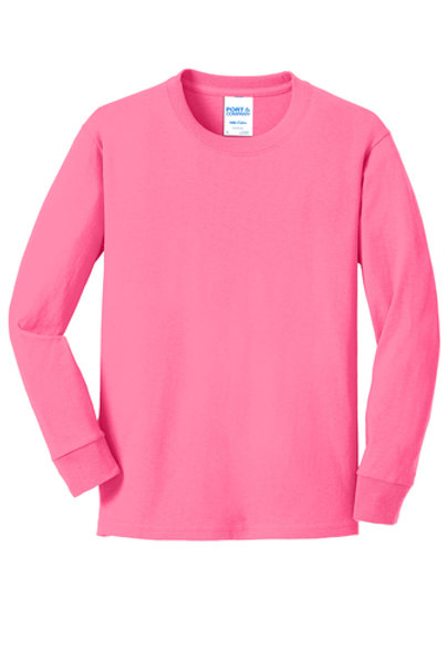Lineshot Youth Long Sleeve Core Cotton Tee-Pink