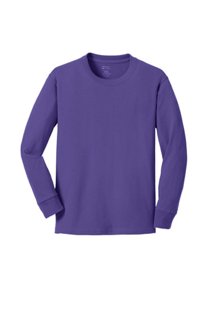 Lineshot Youth Long Sleeve Core Cotton Tee-Purple