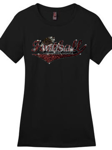 Ladies Short Sleeve T-Shirt Rhinestone