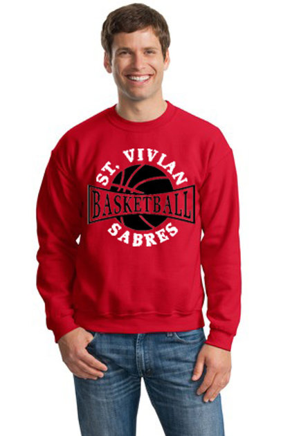 Basketball Red Crew Sweatshirt