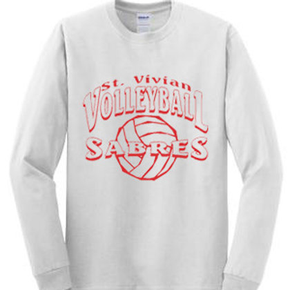 Volleyball Long Sleeve White T-Shirt