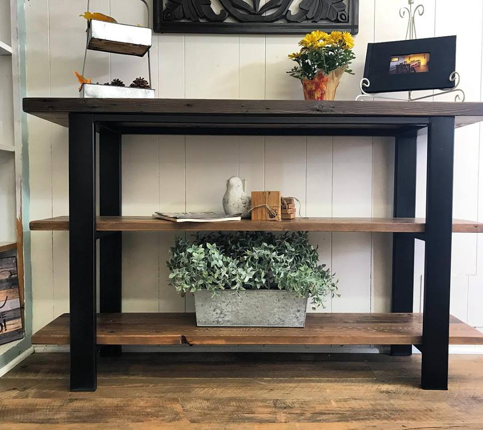 +iron and reclaimed wood console table
