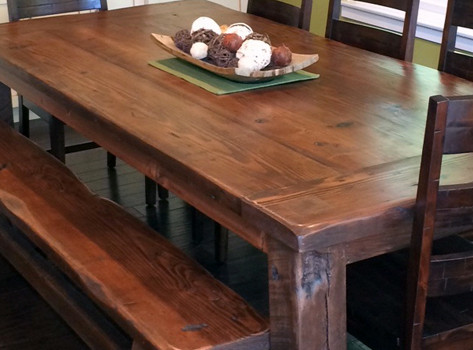 Reclaimed wood Mills Table and Bench