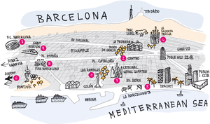 Barcelona city tourist map showing the main hot tourist spots